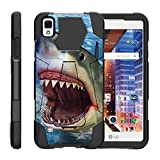 TurtleArmor | Compatible for LG Tribute HD Case | LG Volt 3 | LG X Style [Dynamic Shell] Dual Layer Hybrid Impact Case Fitted Silicone Kickstand Sea Ocean Design - Shark Attack