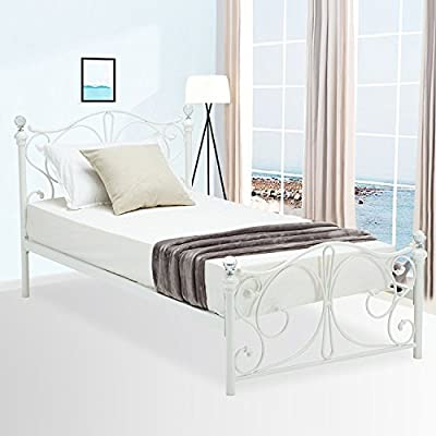 Mecor Metal Bed Frame Curved Headboard Footboard/Crystal,White,Twin/Full Size
