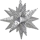 Moravian Star Light, Flower Pierced Tin, Silver, 15''