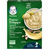GERBER Organic Cereal Wheat & Wholegrain Oatmeal with Banana, Baby Food, Cereals, 6+ Months, 208 g, 6 Pack