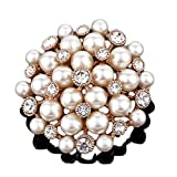 Mall of Style Pearl Brooch for Brides - Gold Wedding Brooch with Rhinestones & Crystals
