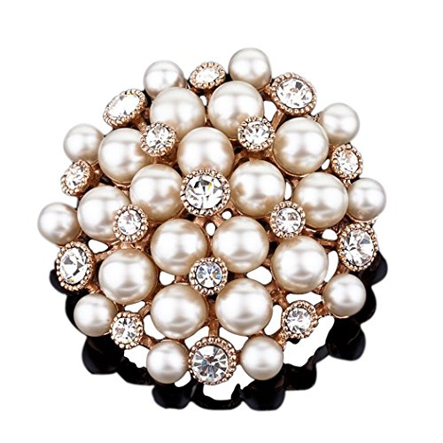 Mall of Style Pearl Brooch for Brides - Gold Wedding Brooch with Rhinestones & Crystals by Mall of Style