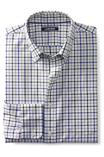 Lands' End Men's Traditional Fit No Iron Twill Shirt, M, Ivory/Mazarine Tattersall