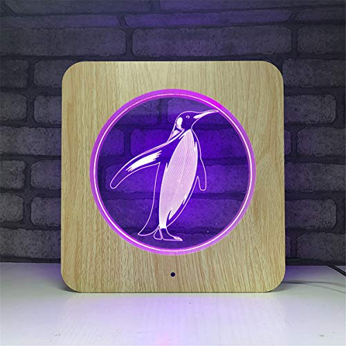 USB Powered Stunning Penguin 3D Illusion Wood Night Light Remote Control 7 Colors Change Mood Lighting Desk Table Glow LED Lamp Art Sculpture Beside Lights Toy for Kids ()