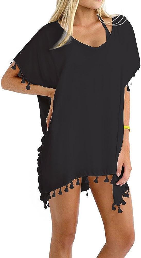 Amazon.com: Taydey Women's Stylish Chiffon Tassel Beachwear Bikini Swimsuit  Cover up Black,One Size-Free size: Clothing