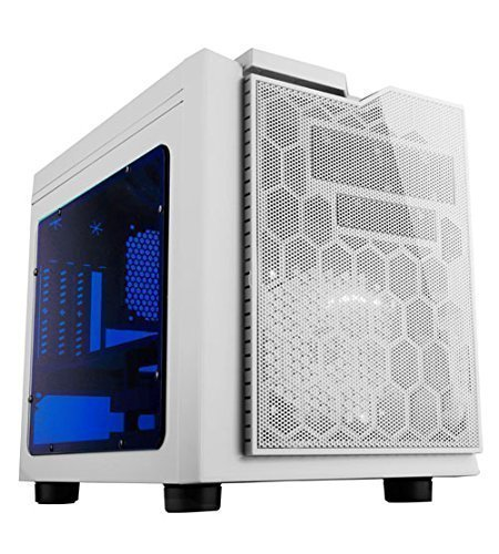 APEVIA X-QPACK3-WHT Micro ATX Cube Gaming/HTPC Case, Supports Video Card up to 320mm/ATX PS, 2 x Blue Windows, USB3.0/USB2.0/HD Audio Ports, 1 x 140mm Blue LED fan, Flip Open Design, Dust Filter–White