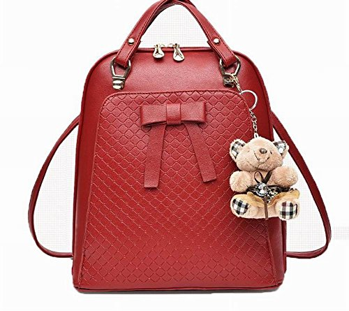 randonnée Mode à dos AalarDom Daypack Rouge Daypacks Pu Sacs Zippers de Cuir Femme CHRHwx5P