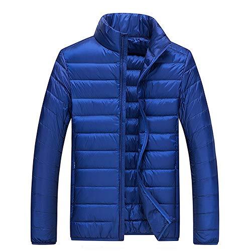 Mens Down Jacket Lightweight Warm Winter Coat Featherweight Between-Seasons Puffer Stand Collar Packable Sports Jacket,RoyalBlue,XXL -