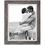 Malden International Designs Linear Rustic Wood Picture Frame, 8x10, Rough Gray