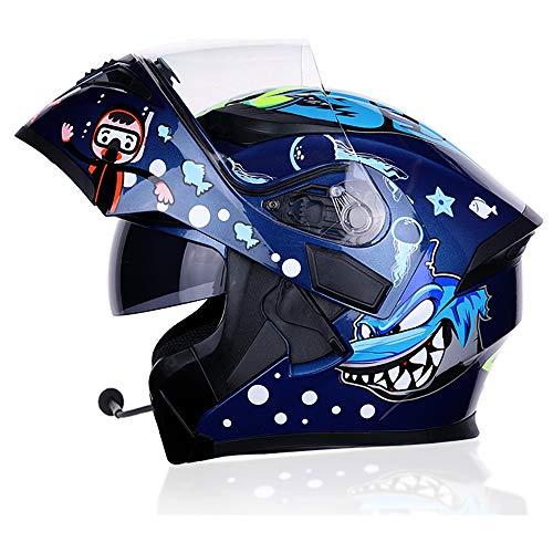 SOGG Motorcycle Bluetooth Helmets Adult Full Face Modular Helmet D.O.T Certification Flip up Dual Visors FM Radio Waterproof Built-in Communication System,Blue,XXL ()