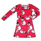 Girls Cute Dress, Transer Baby Girls Lovely Princess Dress 1-9 Years Infant Christmas Snowman Print Dress Toddler Kids Long Sleeve Swing Dresses (3-5 Years, Red)