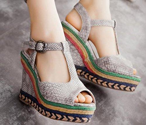 Femmes Sandale Plate Gris forme Laruise De Compensée Plate De Compensée Sandale forme rnSqrOvw