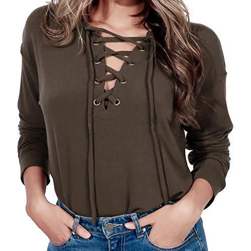 Sunhusing Women's V-Neck Cross Bandage Strap Long Sleeve Pullover Top Loose Casual Solid Color T-Shirt ()