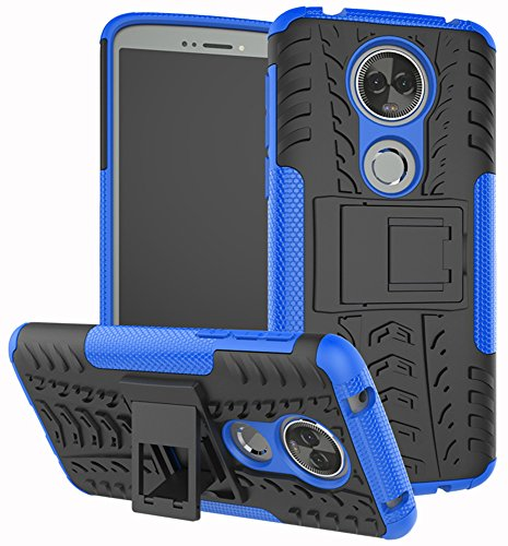 Moto E5 Plus Case, Moto E5 Supra Case, Yiakeng Dual Layer Shockproof Wallet Slim Protective with Kickstand Phone Case Cover for Motorola Moto E Plus (5th Generation) (Blue)