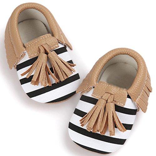 Baby Mädchen Lauflernschuhe-Omiky® Mädchen Lauflernschuhe Krabbelschuhe Babyschuhe in verschiedenen Farben Quasten Bowknot Shoes Braun
