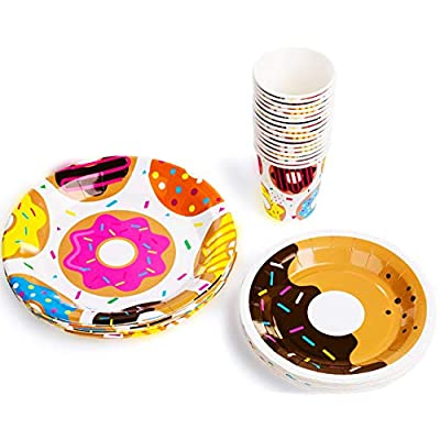 BleuZoo Donut Party Supplies - Party Themed Set Birthday Decorations Bundle - Donut Grow Up - Includes: Big and Small Plates, Tablecloth, Danglers, Cups, Napkins (Serves 16): Toys & Games