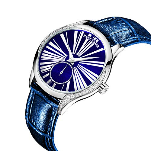 Reef Tiger Luxury Ultra Thin Ladies Watch Genuine Leather Strap Mechanical Watches RGA1561