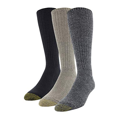 Gold Toe Men's Cotton Fluffies Casual Sock, 3 Pairs, Dark Grey/Taupe Heather/Black, Shoe Size: 6-12.5