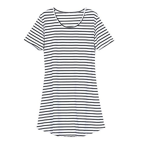 Dresses for Women Work Casual,Summer Dresses for Women,Women's Casual Dresses O-Neck Short Sleeve Striped T-Shirt Dress White by Wugeshangmao Dress (Image #2)