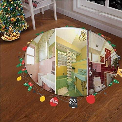 Retro Bathrooms Collage Colorful Old Bathroom Photo Christmas Indoor/Outdoor Rug Bathroom Rugs Soft Non Slip Floor Carpet Bedroom Living Room Decorative,okjeff7996o,6.56 ft