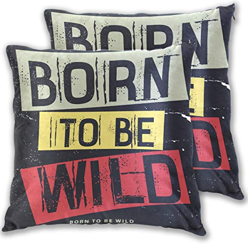 ow Pillows Covers Born to Be Wild Cotton Velvet Square Pillow Slipcovers 20x20 Inch Double Sided,Set of 2 ()