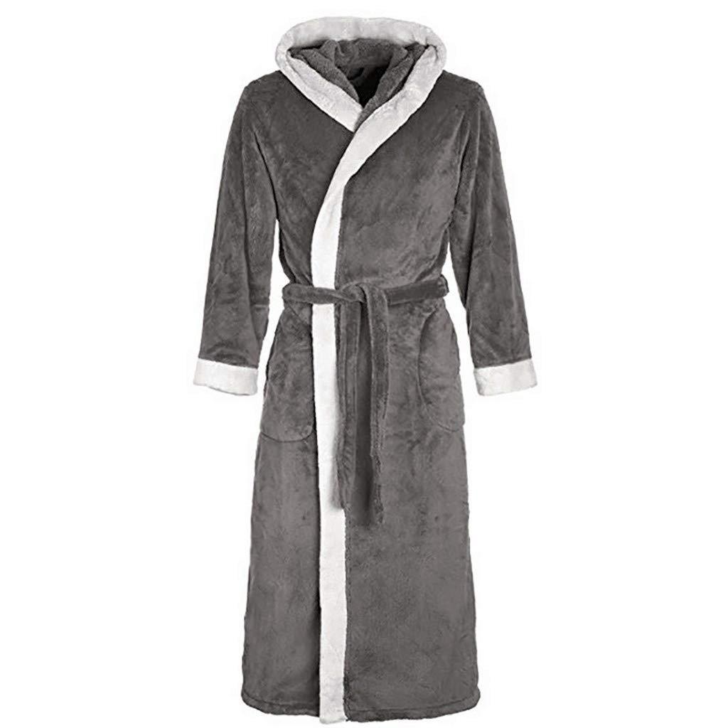 Women Long Robes Soft Winter Warm Housecoats Hooded Bathrobe Dressing Gown Sleepwear Pajamas Top