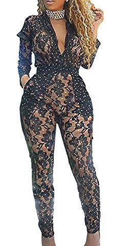 Jmwss QD Women's V Neck Mesh See Through Sequin Long Sleeve Bodycon Romper With Pocket Black XL - Sequin Pocket Jean