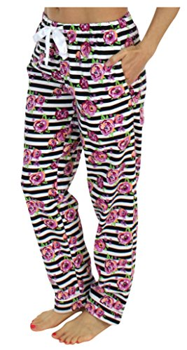 PajamaMania Women's Sleepwear Flannel Pajama PJ Pants- Stripe Floral ()