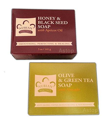 Nubian Heritage Honey & Black Seed + Olive & Green Tea Soap Combo.. 5 oz.. (2 Pack).. HPVagr