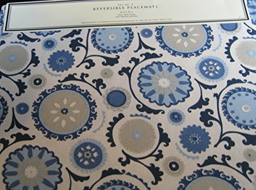 Set of 4 Raymond Waites of NY Reversible Blue Medallion Plac