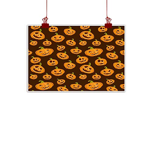 Mannwarehouse Modern Oil Paintings Seamless Background with Smiling Pumpkins for Halloween Canvas Wall Art 35