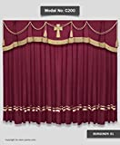 SAARIA Burgundy Church Velvet Curtain for School Home Movie Theater Hall Stage Events Show Backdrop 12 ft W X 8 ft H