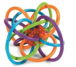 """Time Honored Classic The Winkel rattle and teether, by Manhattan Toy, is an award-winning classic, a true """"must have"""" for parents and infants. Its maze of soft, continuous tubes and its stunning colors instantly capture and hold baby's attention. The..."""