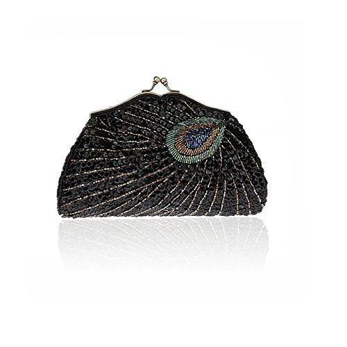 2017 Moda Mujer Bolso de Lentejuelas con Patrón de Pavo Real Bolso de Diamantes de Brillante Bolso de Noche Negro