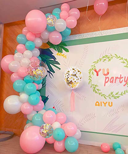 Aqua Blue Pink Balloons Arch Garland Kit Hawaii Flamingo Party Decoratons Pink White Turquoise Teal Balloons Backdrop Tropical Birthday Hawaii Luau Summer Beach Party Supplies]()