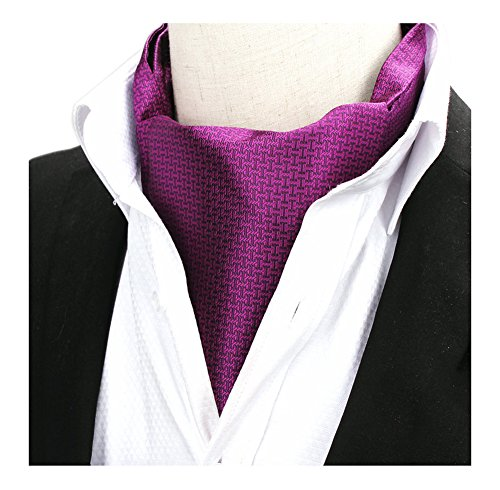 Men Matte Italian Purple Silk Jacquard Woven Self Cravat Tie Textured Suit Ascot