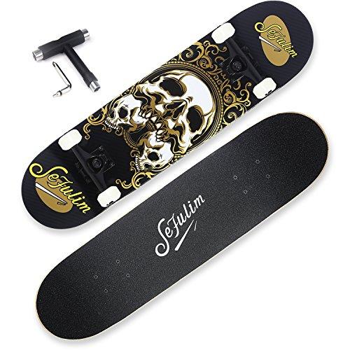 Sefulim 31x8 Complete Skull Skateboards Outdoor Street Concave Skateboard...