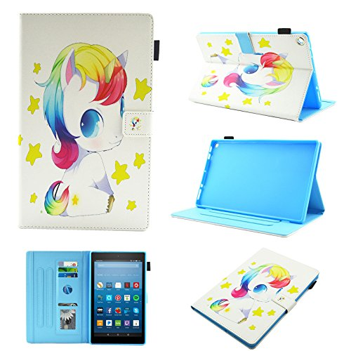 F i r e HD 8 Tablet 8 inch 2018/2017/2016/2015 Case (8th/7th/6th/5th Generation), Uliking Folio Cover Smart PU Leather TPU Wallet with Stand Card Pocket Pencil Holder (Auto Wake/Sleep), Cute Horse]()