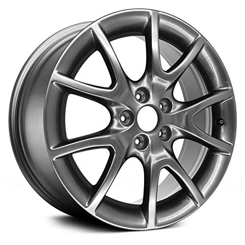 (Value 10 Spokes Deep Black Smoked Hyper Silver Factory Alloy Wheel OE Quality Replacement)