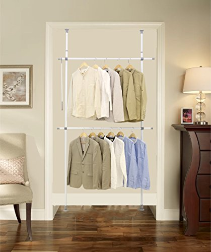 ALLZONE Adjustable Closet Rod Double Rail,Freestanding Cloth