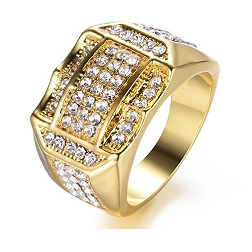 - Londony ♪❤ Clearance Sales,Diamond Insert Gold Rings for Men Business Ring Band Rings cJewelry Gift