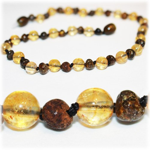 The Art of Cure Baltic Amber Teething Necklace for Baby (Rare green/Citrine) - Anti-inflammatory by The Art of Cure   B00S7JFR68