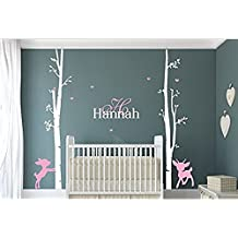 DecorRooms Large Birch Tree with Branches Wall Decals Custom Name and Initial Deer Nursery Wall Decal Baby Room Art Decor