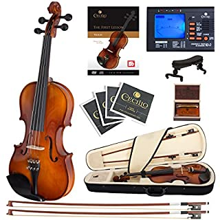 Cecilio CVN-300 Ebony Fitted Solid Wood Violin with Tuner and Lesson Book, Size 4/4 (Full Size) (B0052V8JZU) | Amazon Products