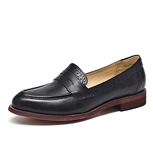 4617a200b471a Beau Today Women's Casual Genuine Leather Brogue Penny Loafers Moccasins  Slip-On Flats Handmade Shoes