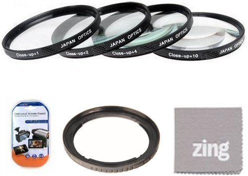 67mm Close-Up Filter Set (+1, 2, 4 and +10 Diopters) Magnification Kit - Metal Rim for Canon SX30IS SX30 is SX40 HS SX40HS SX50 HS SX50HS Digital Camera + Filter Adapter + More!! by Big Mike's