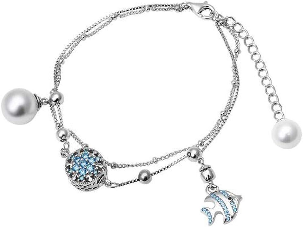 DW S925 - Pulsera de cuentas de perlas de pez para mujer y esposa como el mejor regalo para amigos o parejas