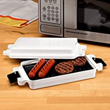 Microwave Griller Griddle, Non-Stick Plastic White Chicken and Fish Griddle with Black Handles for Microwave Usage & E-Book