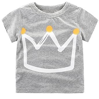 Csbks Girls Boys Short Sleeve Crew Neck Tee Kids Crown Print T-Shirt 1-6 Toddler 2T Gray