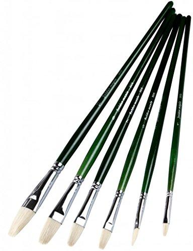Golden Maple Professional Artist' Paint Brushes for Oil Gouache Filbert Hog Bristle Hair Dark Green Long Wood Handle 6 Pieces/set
